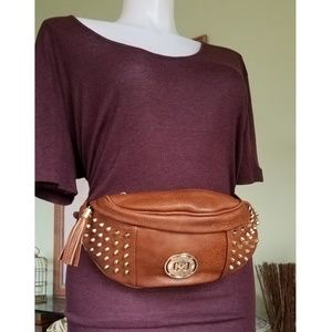 Mahogany Brown Vegan Leather Studded Fanny Pack
